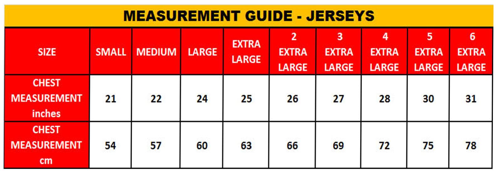 Size Guide Jerseys Resize